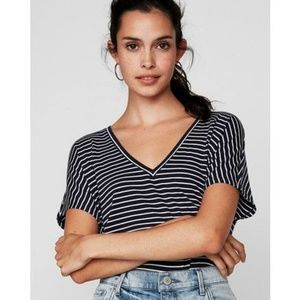 Express One Eleven Striped V-Neck London Tee S